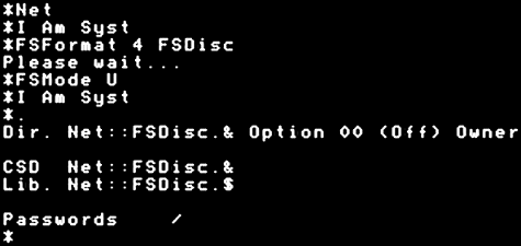 Formatting a FS disc.