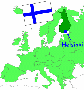 Finland in Europe, and the flag of Finland