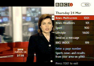 The BBCi introductory index, overlaid onto BBC News 24.
