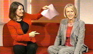 Alina having a bit of fun with the main presenter, Sally Taylor.