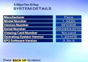 The System Details page. This is useful if reporting a fault, or registering a freeview card.