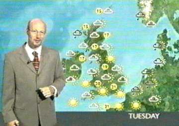 The BBC weather in 4:3 pan and scan mode.