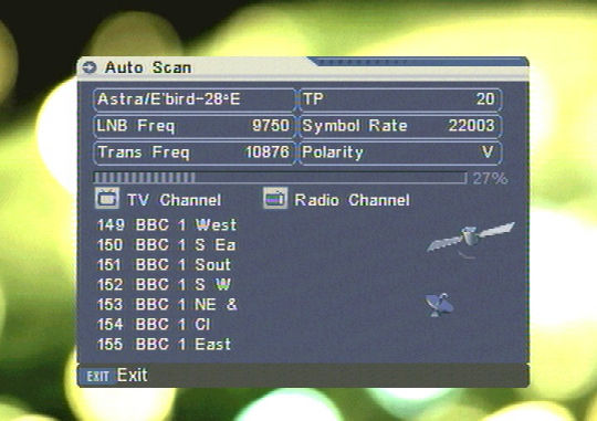 The SL65 receiver searching for channels.